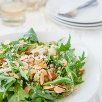 Lemon and Herb Couscous with Goat Cheese, Almonds, and Coriander Buttermilk Dressing