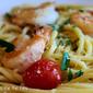 Ina Garten's Spaghetti Aglio E Olio with Shrimp & Garden Fresh Tomatoes