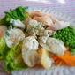 Tarragon, Chervil and Chive Dressing, on a simple composed salad of chicken,salad leaves, vegetables and boiled egg