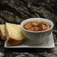 Kielbasa and Mixed Greens Soup