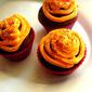 Chocolate Pumpkin Cupcake With Orange Cream Cheese Frosting