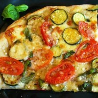 Zucchini and Tomato Pizza for Two....(or more!)