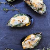 Stuffed Mussels with Serrano Ham, Spinach, & Garlic Aioli