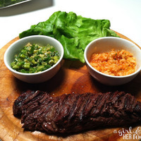 Marinated Hanger Steak Ssam with Red Kimchi Puree & Ginger Scallion