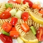 pasta and vegetables with warm lemon vinaigrette