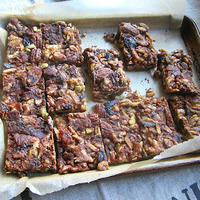 Chocolate Caramel Nut Bars w/ Dried Figs