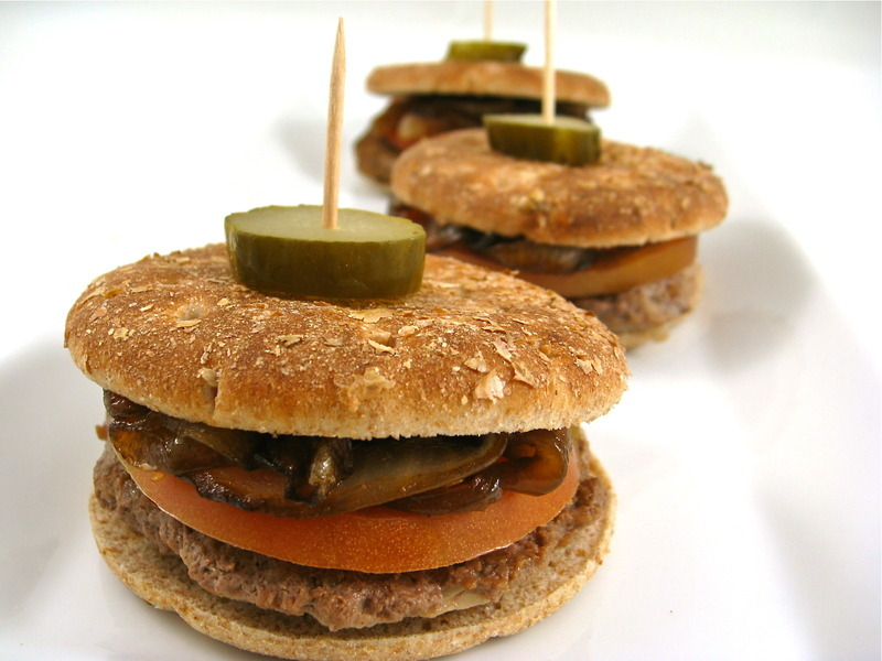 Skinny Sliders with Caramelized Onions, Yum!