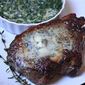 Pan-Seared Ribeye Steaks with Blue Cheese Butter