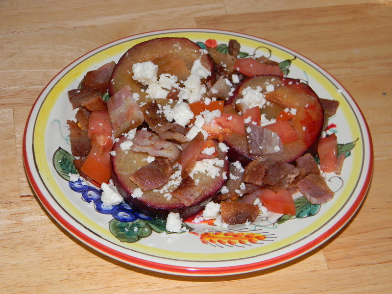 Roasted Plum Bacon & Feta Salad