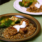Turkey Date Meatballs with Lentils and Dill sauce