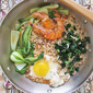Skillet Noodles with Shrimps, Egg, Kale