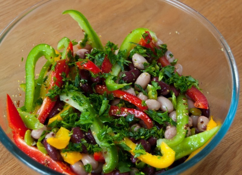 Aromatic three bean salad