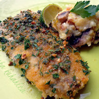 Oven-baked cod with feta and mushroom mash
