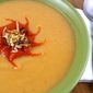 Spicy Potato, Leek & Cauliflower Soup with Roasted Red Pepper Puree Recipe
