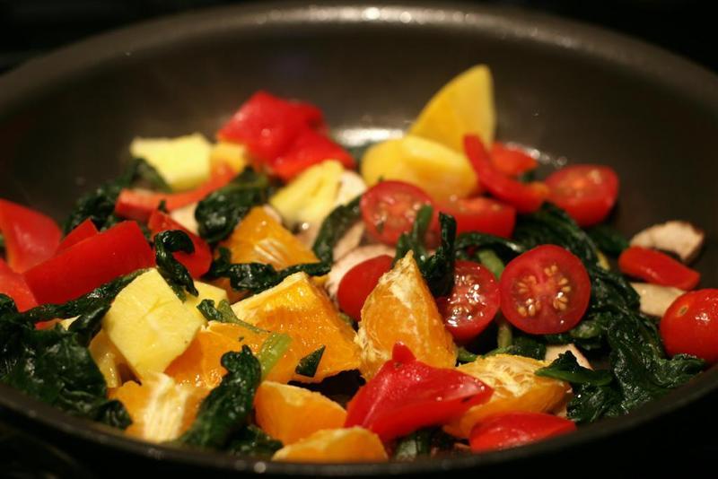 Orange Portabella and Spinach Rice Bowl