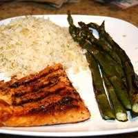 Salmon Grilled with Lemon Pepper & Garlic