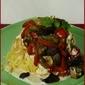 Vegetable Pasta Nests with Garlic Cream Sauce