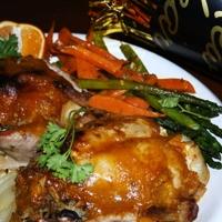 Mango Glazed Rock Cornish Hens stuffed with Wild Rice and Peas
