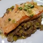 Salmon with Herb Butter over Lentils