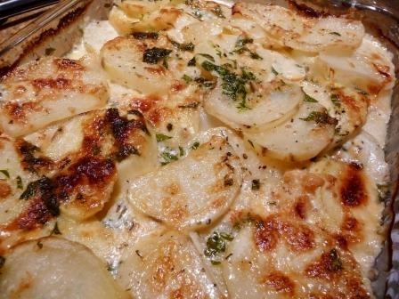 Potato and Sweet Potato au Gratin with Herbs