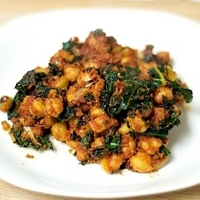 Curried Chickpeas, Onions, and Kale in a Tomato Sauce
