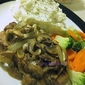 Steak with Sauteed Mushrooms and onion