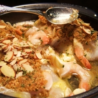 Almond Crusted Stuffed Haddock with Shrimp in wine butter