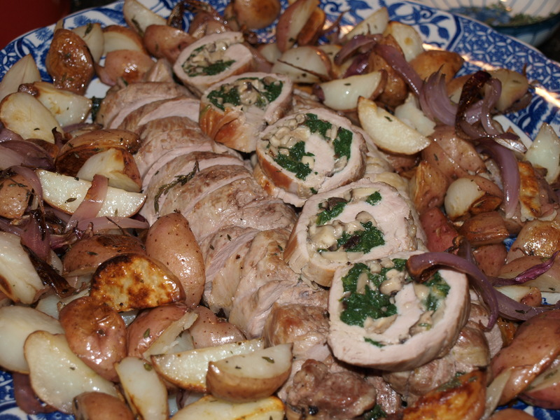Stuffed Pork Tenderloin with Spinach and Mushrooms