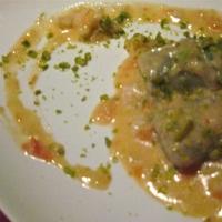 Gnocchi di Pistacchio con Scampi, Asparagi e Panna