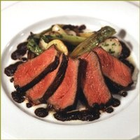 Grilled Niman Ranch Sirloin Steak with Tapenade, Roasted New Potatoes and Baby Leeks