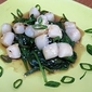 Broiled Scallops with Honey-Lime Marinade and Sauteed Sesame Spinach