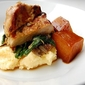 top chef experiment: take five (roasted pork loin with polenta, dandelion greens and rutabaga)