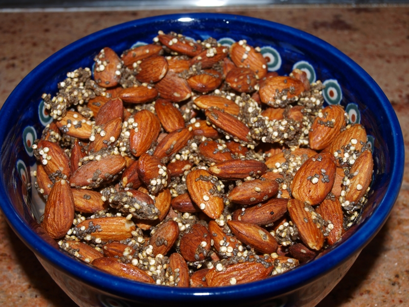 Roasted almonds with Quinoa, Flax and Sunflower seed