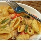 Pasta with Roasted Veggies in home-made cheesy sauce (Low fat)…!!
