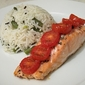 Tomato Baked Salmon with Steamed Rice Salad