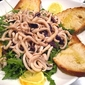 """Calamari """"Noodles"""" w/ Arugula & Olives"""