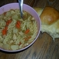 Chicken Noodle Soup and Rolls