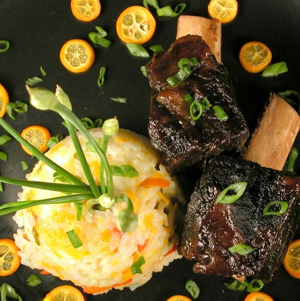 Asian-Style Braised Sticky Short Ribs with Kumquat-Scallion-Chile Rice