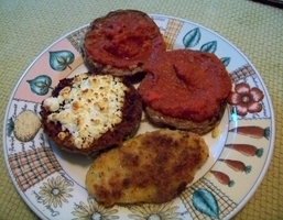 Fried Panko Crusted Polenta, Zucchini /w Goat Cheese And Eggplant With Tomato Sauce