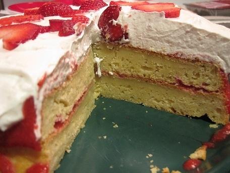 Sour Cream Cake with Strawberry Puree