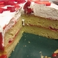Sour Cream Cake with Strawberry Puree