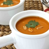 African Tomato & Peanut Soup Recipe with Sweet Potato & Chickpeas