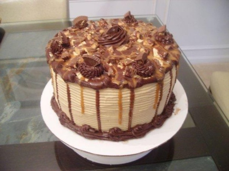 Traceys Reeses Peanut Butter Cup Caramel Chocolate Cake Recipe By