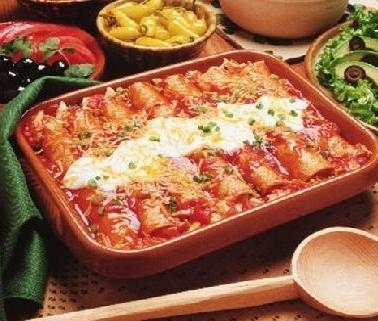 Red Enchiladas with Cream Cheese and Pecan Filling