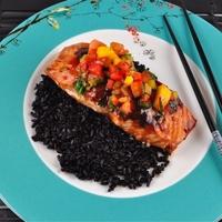 Hoisin Glazed Salmon with Mango Pepper Salsa and Chinese Black Rice