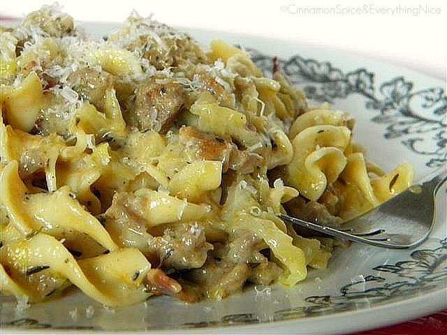 Cabbage, Sausage & Bacon Noodles In Cheddar-Mustard Sauce