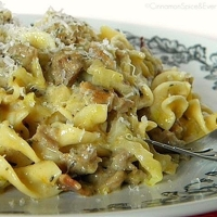 Image of Cabbage, Sausage & Bacon Noodles In Cheddar-mustard Sauce Recipe, Cook Eat Share