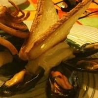 Friarielli con cozze philadelphia e farfallina di pane tostato di Maniaci