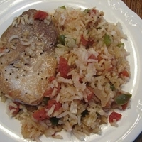 Creole Pork Chops and Spicy Rice - from Da Cajn Critter Cookbook