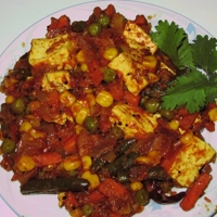 Indian Style Curried Tofu & Mixed Vegetables